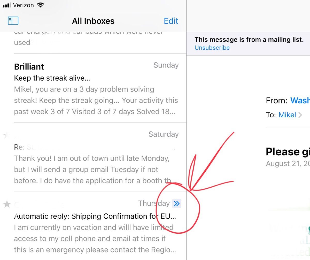 Gmail Via Mail App What Is Blue Arrow Next To Mail Entry Apple