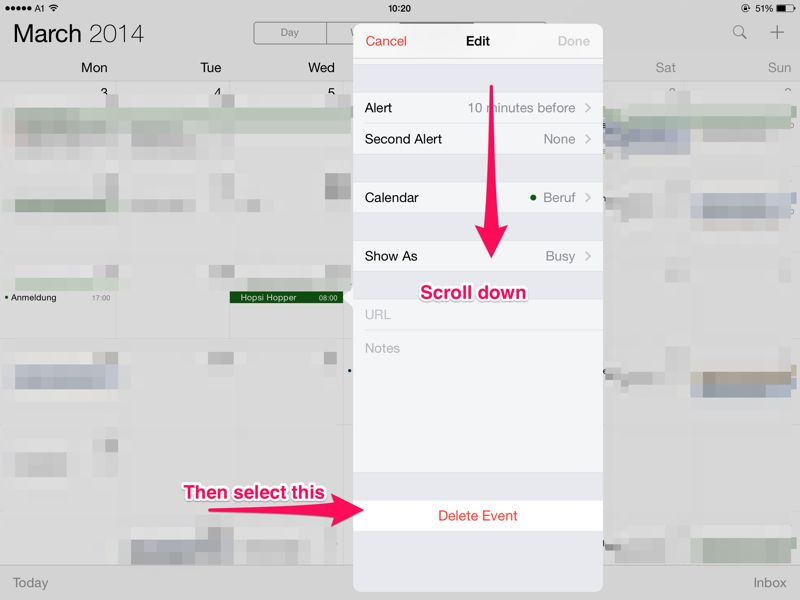 how to delete a calendar from ipad