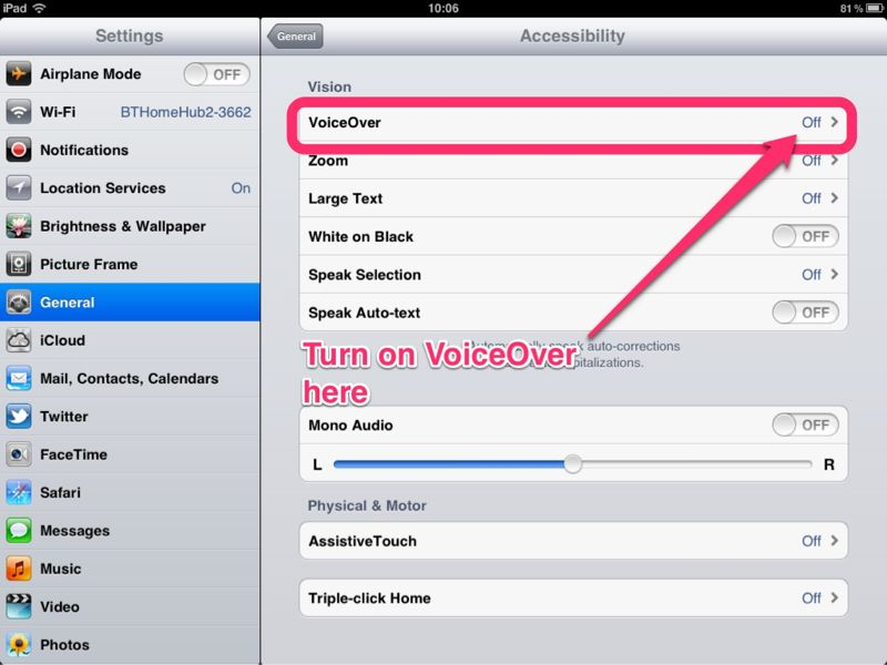 how to turn off voiceover on ipad