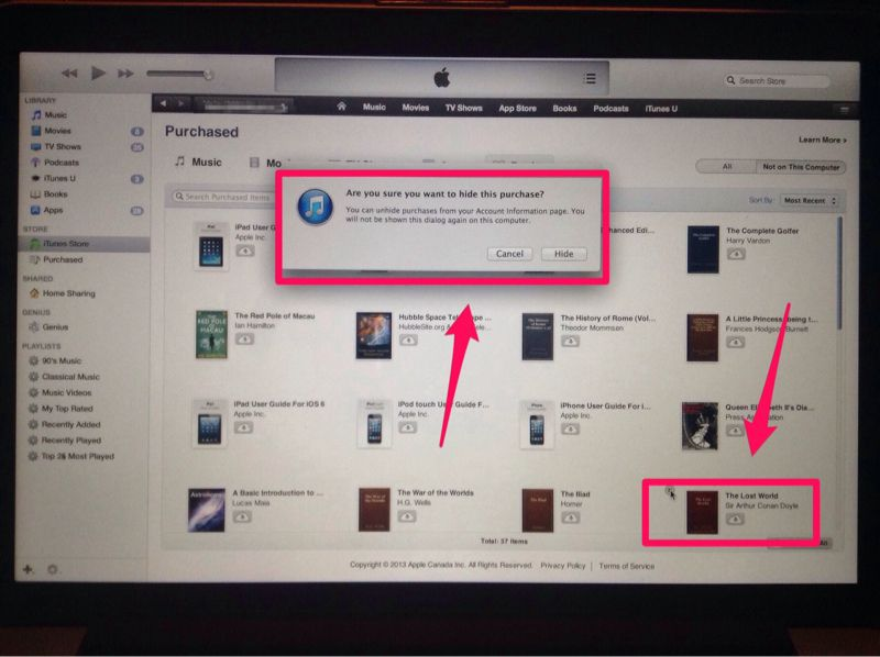 Why cant i totally delete free purchased books in ibooks? | Apple