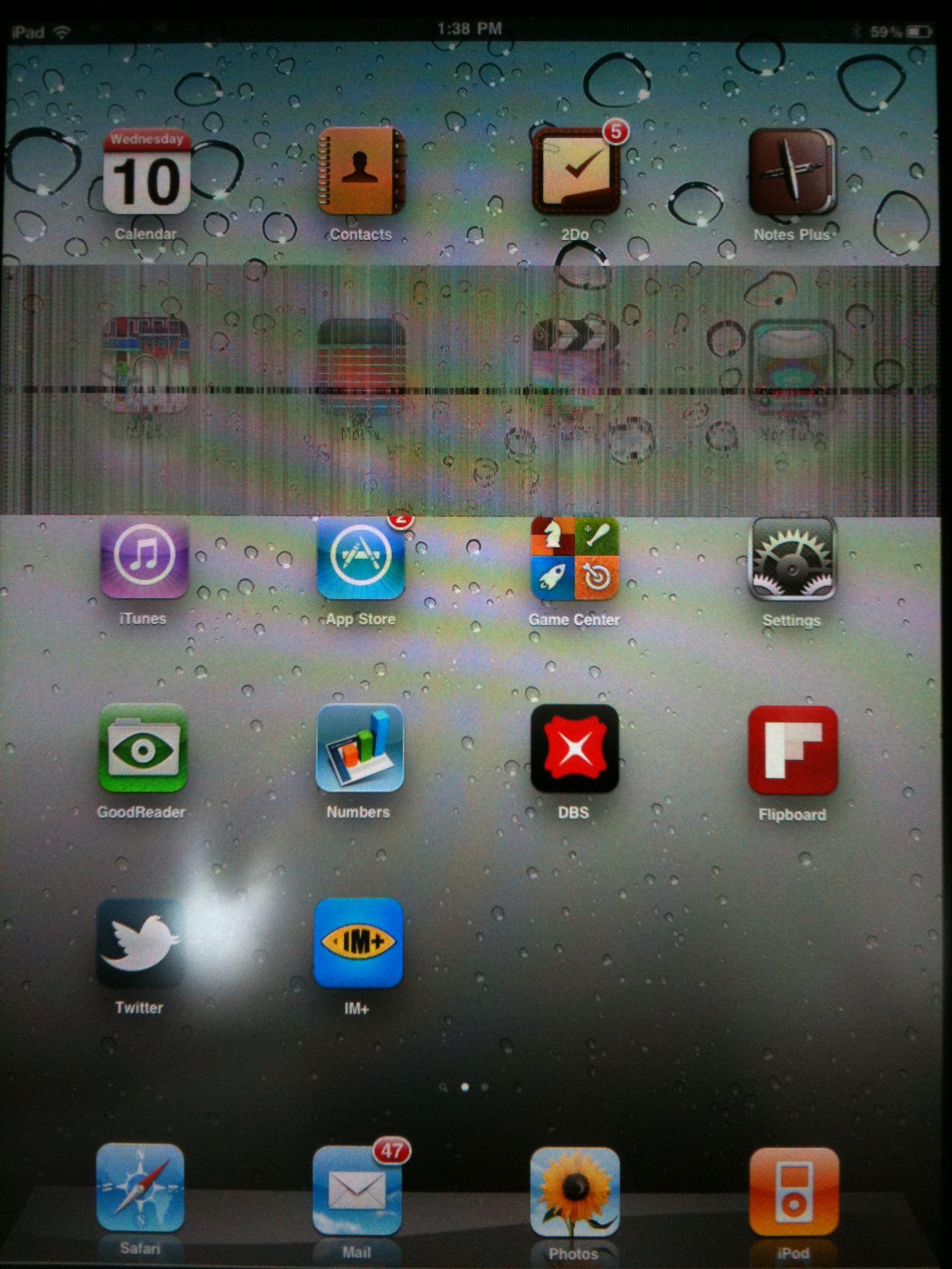 Ipad1 Screen Problem  Weird horizontal strip patch  | Apple
