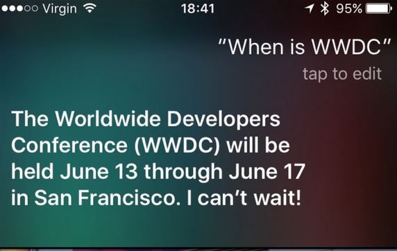 Siri announces 2016 WWDC dates.JPG